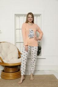 Pijama dama cu maneca lunga si pantaloni lungi cu imprimeu iepuras, Portocaliu