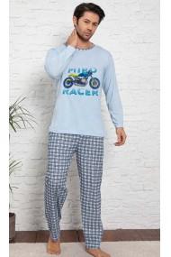 Pijama cu maneca lunga si pantaloni lungi, albastru deschis, imprimeu motoclicleta