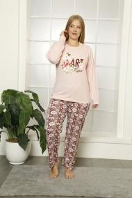 Pijama dama big size din bumbac, cu imprimeu art fraghant/roz