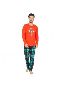 Pijama din bumbac 100%,Rosu cu imprimeu Snow