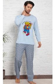 Pijama cu maneca lunga si pantaloni lungi, albastru deschis