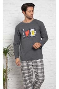 Pijama cu maneca lunga si pantaloni lungi, gri inchis,imprimeu halba de bere