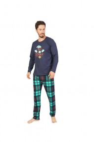 Pijama cu maneca lunga si pantaloni lungi 100% bumbac Blumarin,imprimeu Snow