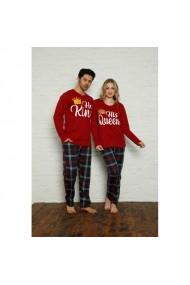 Set pijamale pentru cuplu cu maneca lunga si pantaloni lungi