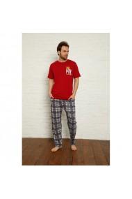Pijama barbati maneca scurta si pantaloni lungi imprimeu Mr King