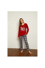 Pijama dama cu maneca lunga si pantaloni lungi imprimeu Mrs Queen