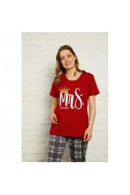 Pijama dama cu maneca scurta si pantaloni lungi imprimeu Mrs Queen