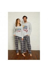 Set pijamale pentru cuplu cu maneca lunga si pantaloni lungi His&Hers
