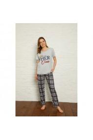 Pijama dama cu maneca scurta si pantaloni lungi imprimeu Her Only