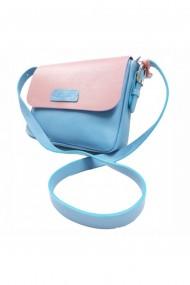 Geanta Brown piele naturala bleu/roz
