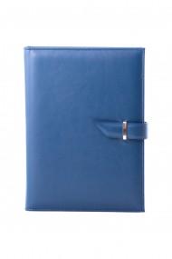 Agenda piele naturala, datata 2021, Alaska, cu interior detasabil, lucrata manual, UNIKA, albastru
