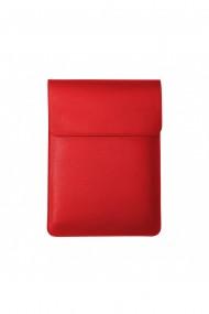 Husa laptop, MacBook 13 inch, piele naturala saffiano cu mouse pad, inchidere magnetica, margini vopsite manual, e-store, rosu