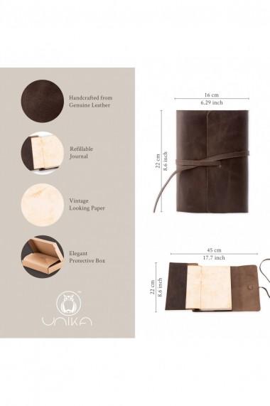 Jurnal piele naturala Vintage, 354 pagini, bloc detasabil, cutie cadou, lucrat manual, maro