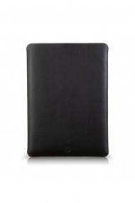 Husa laptop, MacBook 13 inch, UNIKA, piele PU cu lana din fibre naturale, negru/galben