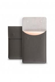 Husa laptop, MacBook 13 inch, piele naturala cu mouse pad, inchidere magnetica, margini vopsite manual, e-store, gri