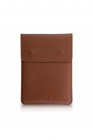 Husa laptop, MacBook 15 inch, piele naturala cu mouse pad, inchidere magnetica, margini vopsite manual, e-store, maro