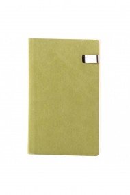 Notes Seqoia, piele naturala, 12,5x20 cm, liniat ivory, verde