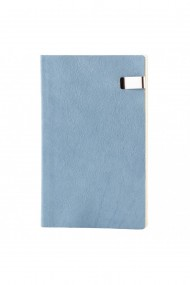 Notes Seqoia, piele naturala, 12,5x20 cm, liniat ivory, albastru