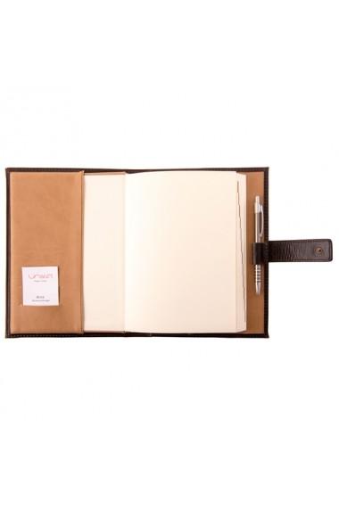 Agenda piele naturala, datata 2021, Chayenne, cu interior detasabil, lucrata manual, UNIKA, maro