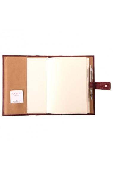 Agenda piele naturala, datata 2021, Vezuvio, cu interior detasabil, lucrata manual, UNIKA, maro