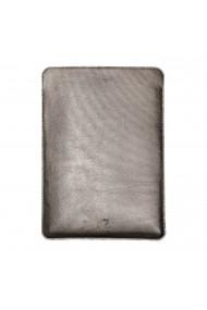Husa laptop, MacBook 15 inch, UNIKA, piele PU cu lana din fibre naturale, argintiu