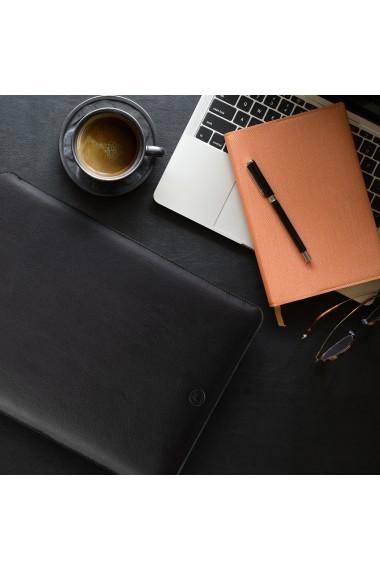 Husa laptop, MacBook 13 inch, UNIKA, piele PU cu lana din fibre naturale, negru/rosu