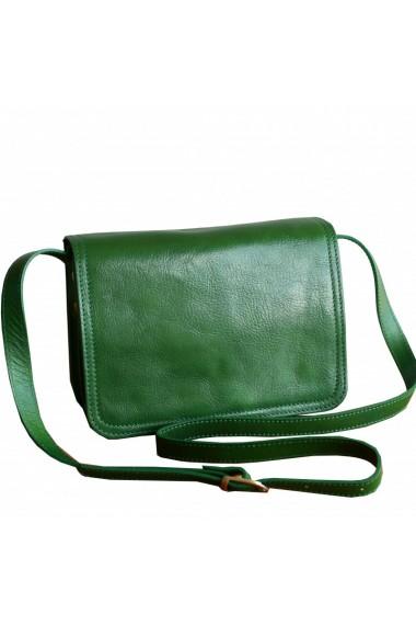 Geanta tip postas din piele naturala,verde, GD101V