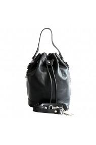 Geanta sac din piele naturala vachetta, neagra, P134