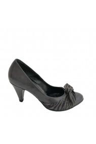 Pantofi cu toc din piele naturala gri cu detaliu de piele intoarsa Veronesse 138 cu nod gri toc 7 cm