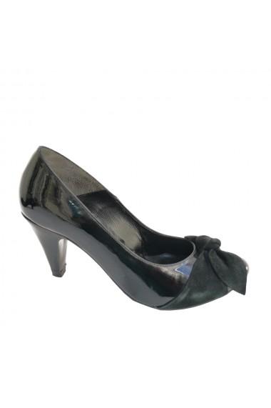 Pantofi cu toc din piele naturala lacuita cu detalii din piele intoarsa Veronesse 138 cu nod toc 7 cm