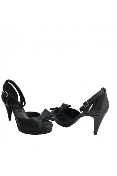 Pantofi din piele naturala Veronesse decupati pe laterale cu funda