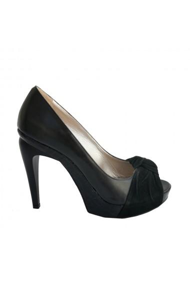 Pantofi din piele naturala neagra Veronesse cu toc de 12 cm