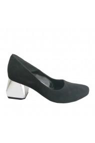 Pantofi din piele naturala neagra cu toc hexagonal argintiu Veronesse 336/1/430