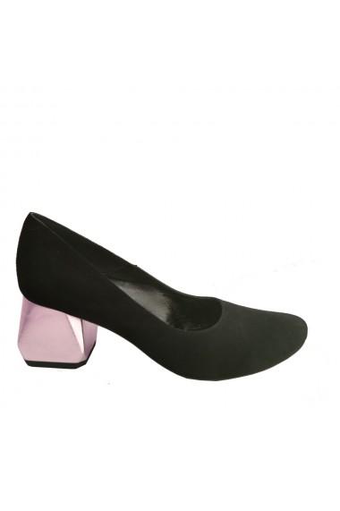 Pantofi din piele naturala neagra cu toc hexagonal auriu Veronesse 336/1/430