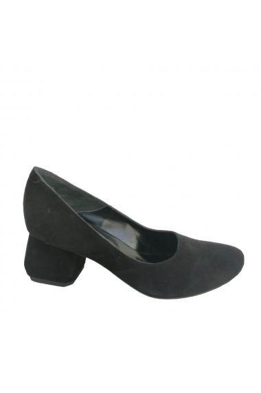 Pantofi din piele naturala neagra cu toc hexagonal negru Veronesse 336/1/430