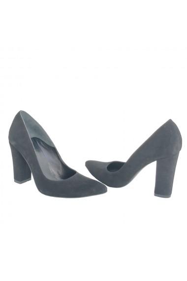 Pantofi stiletto pe toc gros de 10 cm Veronesse din piele naturala