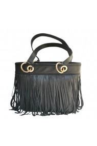 Geanta Veronesse 386 - geanta din piele naturala neagra cu franjuri