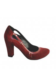 Pantofi din piele naturala Veronesse cu toc de 8.5 cm bordeaux