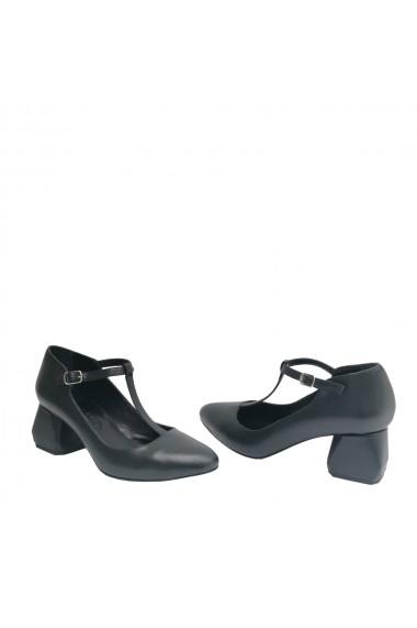 Pantofi cu toc din piele naturala Veronesse de inspiratie retro cu toc de 5 cm hexagonal