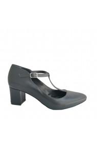 Pantofi cu toc retro Veronesse din piele naturala cu toc de 5 cm patrat