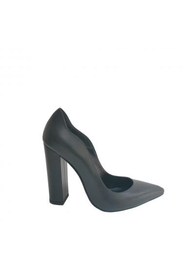 Pantofi stiletto cu toc gros de 11 cm Veronesse din piele naturala neagra