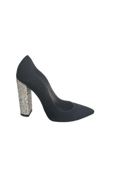 Pantofi stiletto Veronesse cu toc gros de 11 cm din piele naturala neagra cu tocul din glitter argintiu