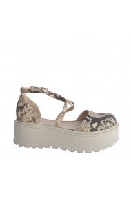 Pantofi decupati Veronesse Amanda din piele naturala presaj sarpe si talpa inalta