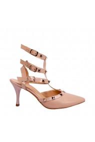 Pantofi decupati la spate Veronesse din piele naturala cu tinte metalice toc 7 cm