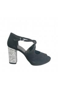 Sandale din piele naturala Veronesse cu toc gros de 8.5 cm
