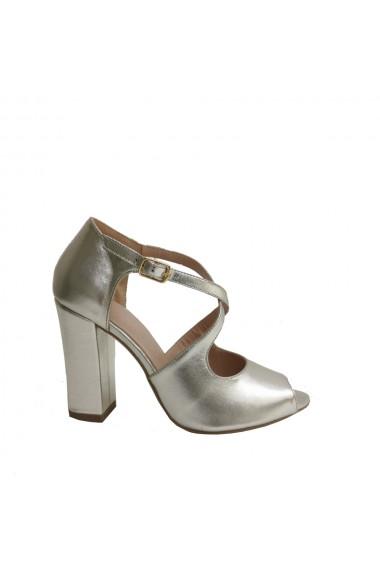 Sandale din piele naturala Veronesse cu toc gros de 10 cm