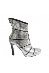 Botine elegante din piele naturala Veronesse 814 argintiu cu negru