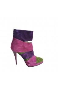 Botine elegante din piele Veronesse 821 camoscio mov roz verde toc 12 cm