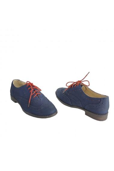 Pantofi oxford style Veronesse din piele ecologica Amy Skott bleumarin cu siret rosu