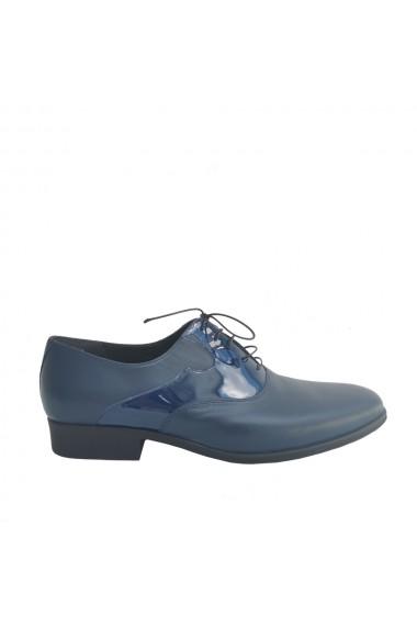 Pantofi barbatesti Veronesse din piele naturala bleumarin cu contrast de lac
